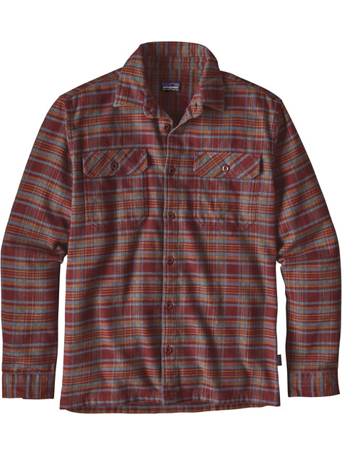 Patagonia Fjord overhemd en blouse lange mouwen Heren rood/bont